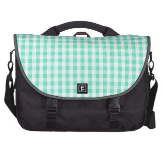 Seafoam Green White Gingham Pattern Bags For Laptop