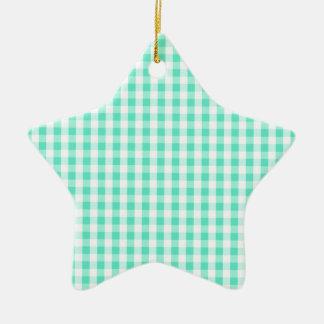 Seafoam Green & White Gingham Pattern Christmas Tree Ornaments