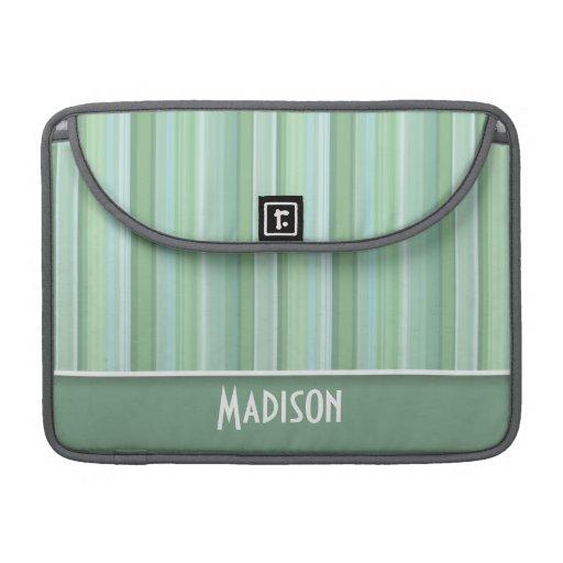 Seafoam lindo, verde salvia, y azules cielos rayad fundas macbook pro
