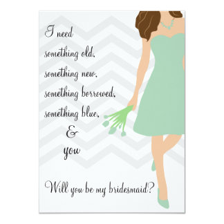 Seafoam Mint Chevron Will You Be My Bridesmaid Card