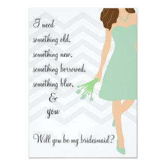Seafoam Mint Chevron Will You Be My Bridesmaid 4.5x6.25 Paper Invitation Card