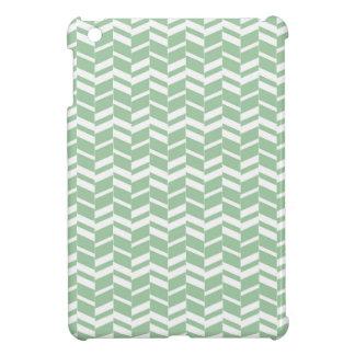 Seafoam Mint Green Herringbone Lines iPad Mini Covers