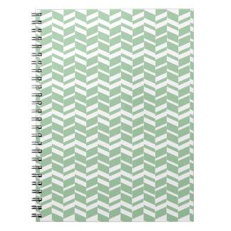 Seafoam Mint Green Herringbone Lines Notebooks