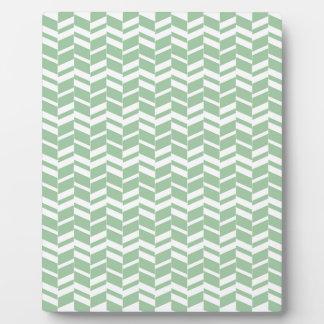Seafoam Mint Green Herringbone Lines Plaque