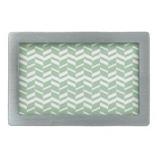 Seafoam Mint Green Herringbone Lines Rectangular Belt Buckle