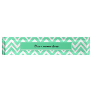 Seafoam Mint Green Zigzgag Pattern Desk Nameplate