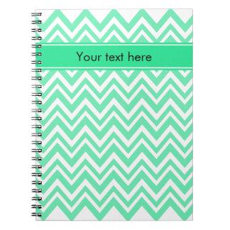 Seafoam Mint Green Zigzgag Pattern Spiral Notebook