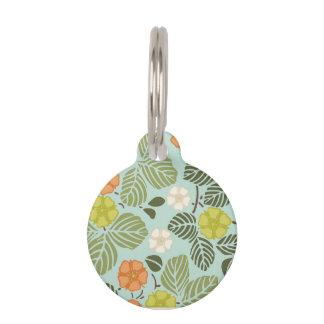 seafoam moderno de las tendencias floral placa de mascota