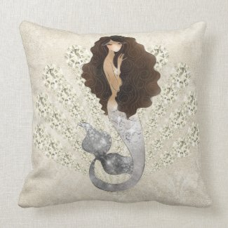 Seafoam Rhinestone Seashell Mermaid Throw Pillow