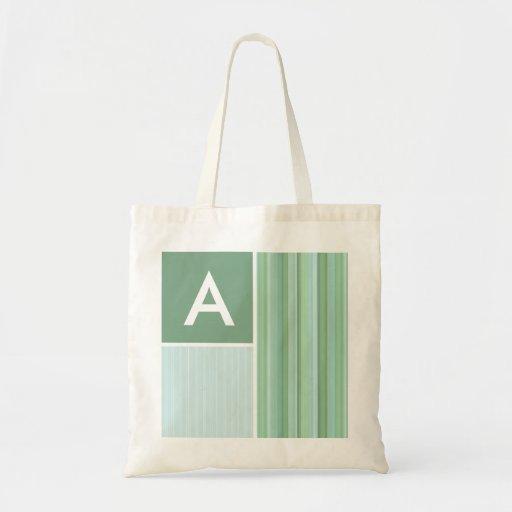 Seafoam, Sage Green, & Baby Blue Stripes Tote Bags