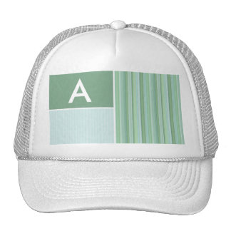 Seafoam, Sage Green, & Baby Blue Stripes Mesh Hats