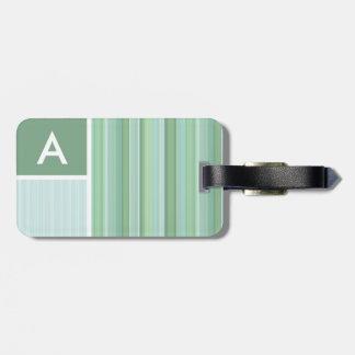 Seafoam, Sage Green, & Baby Blue Stripes Luggage Tag