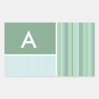 Seafoam, Sage Green, & Baby Blue Stripes Rectangular Sticker