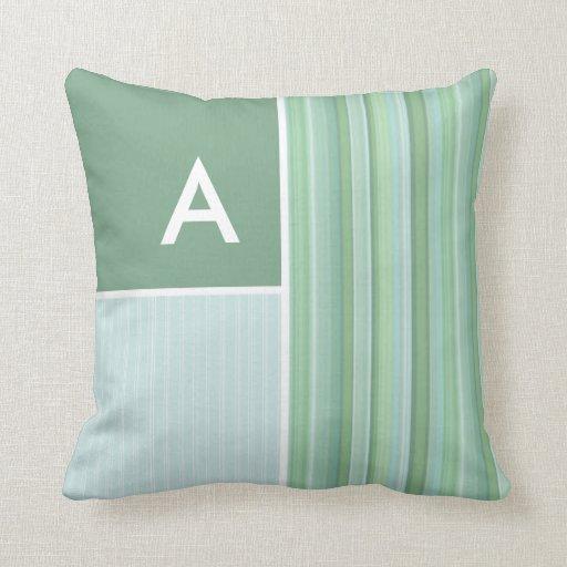 Throw Pillow Seafoam Green : Seafoam, Sage Green, & Baby Blue Stripes Throw Pillow Zazzle