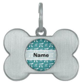 Seafoam, símbolo verde y blanco del trullo del pi placa de nombre de mascota