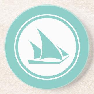 Seafoam Teal Green Ketch Sailboat Nautical coaster