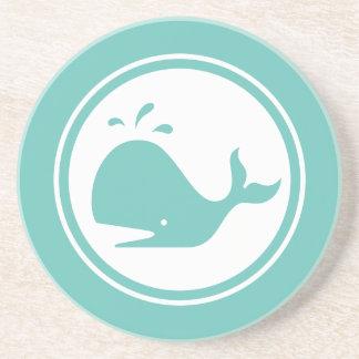 Seafoam Teal Green Whale Marine Creature coaster