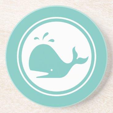 Beach Themed Seafoam Teal Green Whale Marine Creature coaster