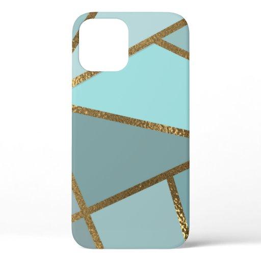 Seafoam Turquoise Green Blue & Bronze Geometric iPhone 12 Case