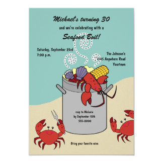 "Seafood Boil Birthday Invitation 5"" X 7"" Invitation Card"