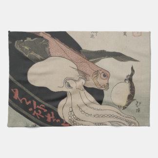 Seafood Bounty Japanese Art Image Kitchen Towel