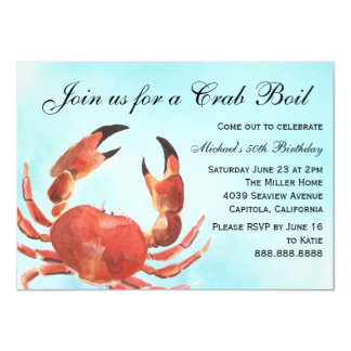 Seafood Crab Boil Summer Birthday Party Card