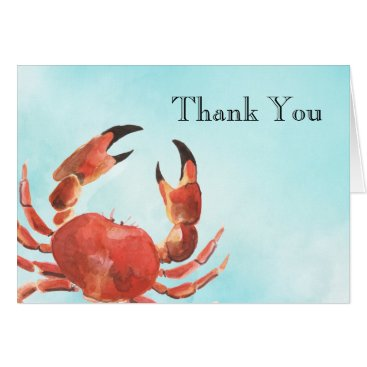 Beach Themed Seafood Crab Watercolor Thank You Card