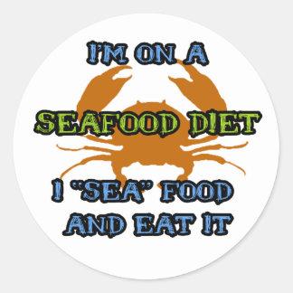 Seafood Diet Round Stickers