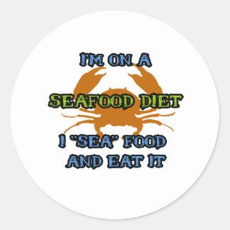 Seafood Diet Round Sticker
