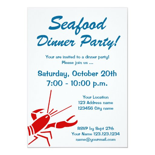 Seafood dinner party invitations with red lobster