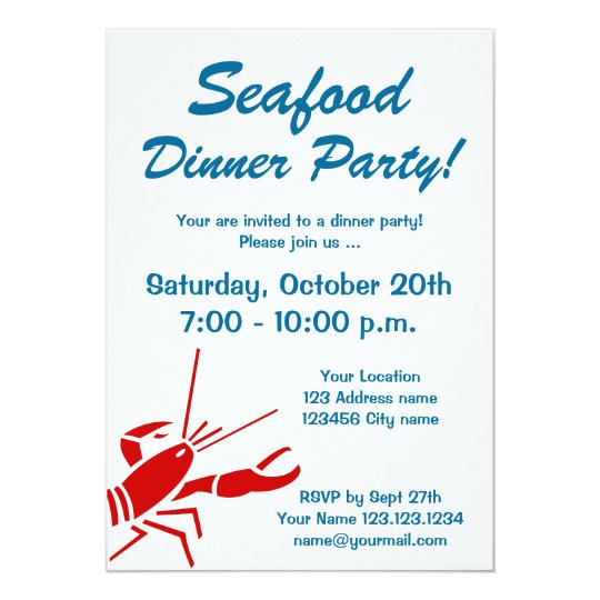 seafood dinner party invitations with red lobster zazzle com