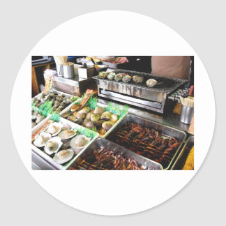 Seafood on Enoshima Island, Japan. Classic Round Sticker