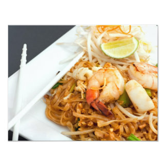 Seafood Pad Thai Fried Rice Noodles 4.25x5.5 Paper Invitation Card