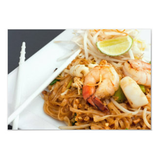 "Seafood Pad Thai Fried Rice Noodles 3.5"" X 5"" Invitation Card"