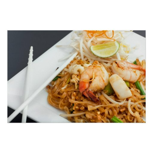 Seafood Pad Thai Fried Rice Noodles Poster
