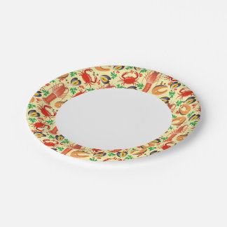 Seafood Pattern Paper Plate