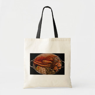 Seafood platter with lobster and crab legs tote bags