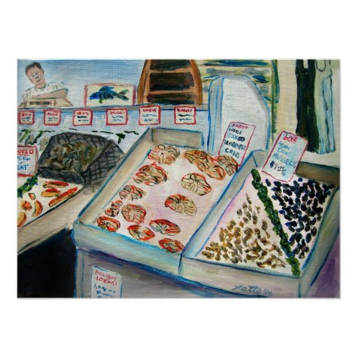 Seafood Sale Art Poster Print (Pike Place Seattle)