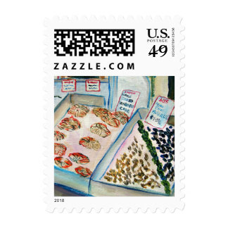 Seafood Sale Postage Stamp (Detail - Pike Place)