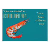 Seafood shrimp prawn BBQ dinner party Invitation