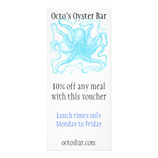 Seafood themed promotional card personalised rack card