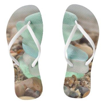 Seaglass and sand  flipflops