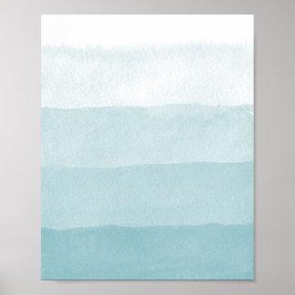 Seaglass Aqua Gradient Colorblock Watercolor Poster