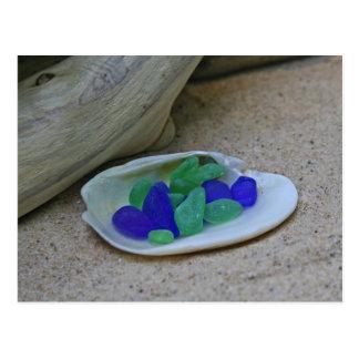 Seaglass azul y verde raro postal