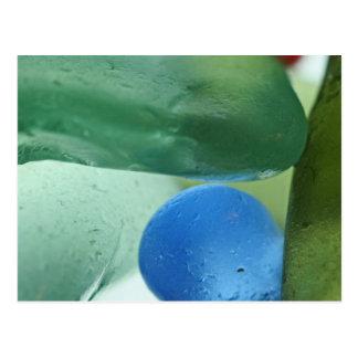 Seaglass azul y verde tarjetas postales