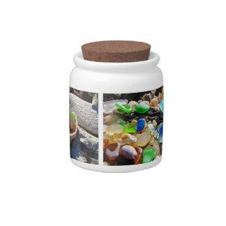 Seaglass Collection jars Sea Glass Shells Agates Candy Dish