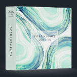 """Seaglass Geode Binder<br><div class=""""desc"""">Perfect for your salon or spa business, school, or bookkeeping at home, our chic watercolor binder features geode agate slice illustrations in ethereal shades of seaglass green, with two lines of custom text overlaid on a sheer white element. Add additional custom text to the spine in navy on matching sea...</div>"""