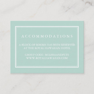Seaglass Green Wedding Hotel Accommodation Cards