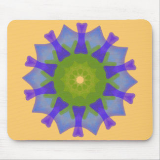 Seaglass shell mandala design mouse pad