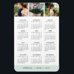 """Seaglass Stripe Stripe 2019 3-Photo Calendar Magnet<br><div class=""""desc"""">Handy magnetic 2019 calendar features three of your favorite square photos at the top. Your names and the year, or a custom message of your choice, are displayed along the bottom in white on a pastel seaglass green stripe. A sweet wedding memento for couples or a great way to share...</div>"""